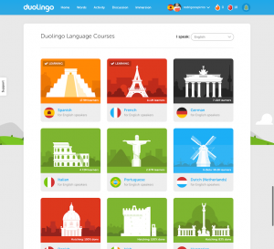 Duolingo - lista de cursos