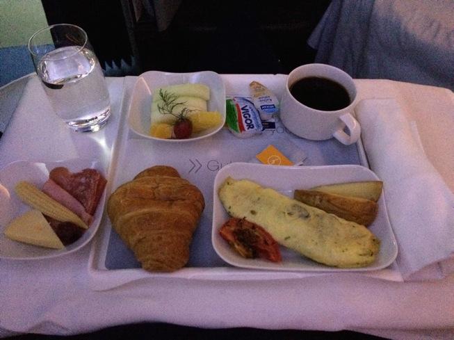 Café da manhã na classe executiva da Lufthansa