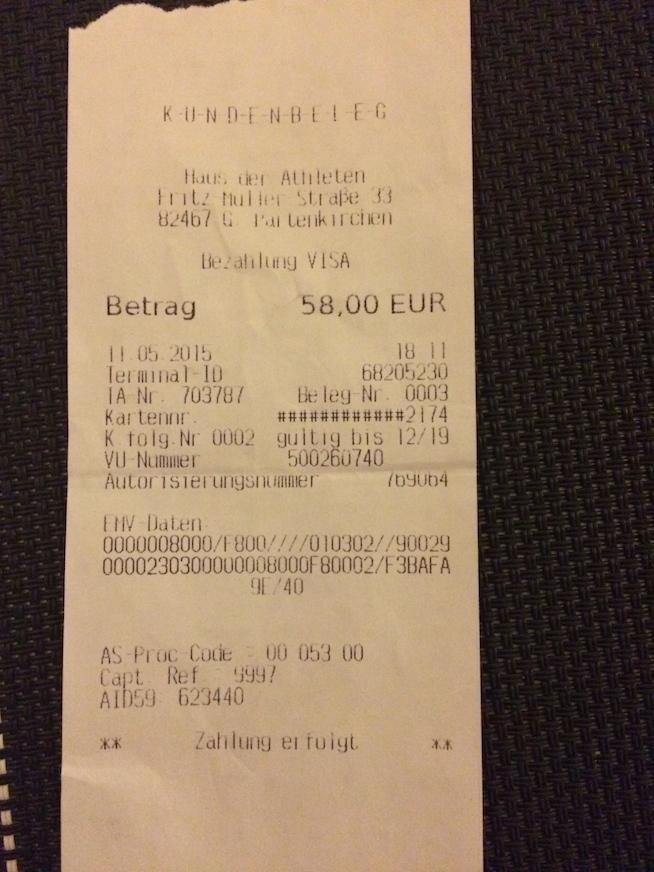 Recibo do pagamento de €58