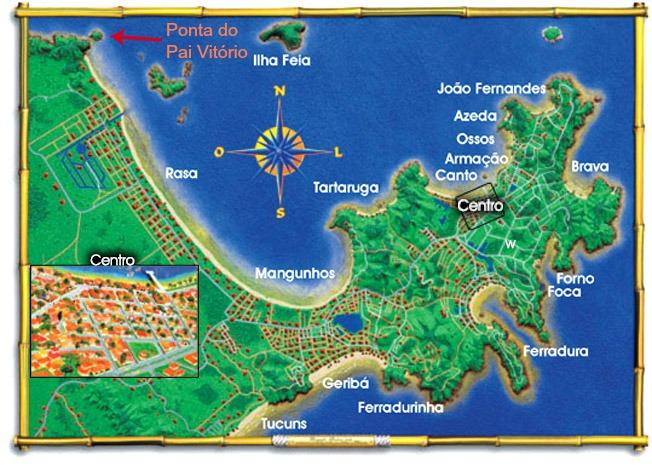 Mapa de Búzios - Ponta do Pai Vitório
